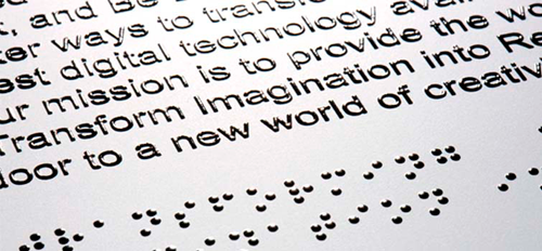 thermography-Braille print finish